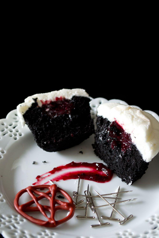 Black Velvet Cherry Almond Cupcakes via Sift & Whisk