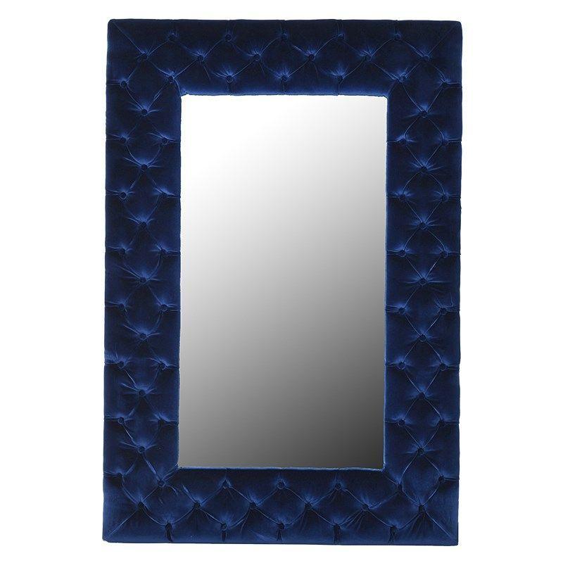giotto navy blue velvet buttoned mirror