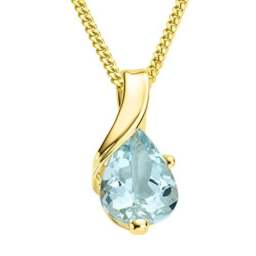 Miore Women's 9 ct White Gold Pear Shape Emerald Pendant with Curb Chain of 45 cm ZqfXhtcxb