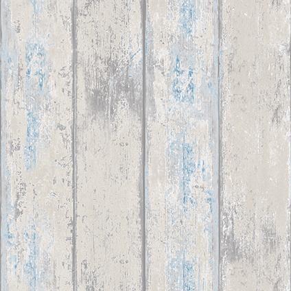 Decomode vliesbehang hout grijs blauw grijs blauw en hout for Behang praxis