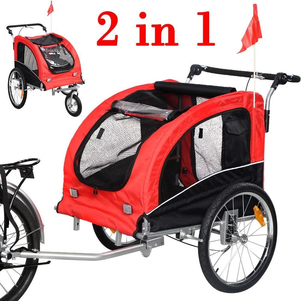 2 In 1 Pet Bike Trailer Bicycle Stroller Jogging Weather