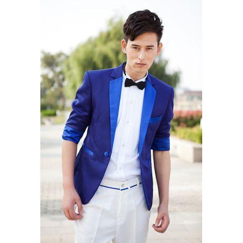 Royal Blue Half Sleeve Summer Wedding Best Man Prom Casual Dress ...