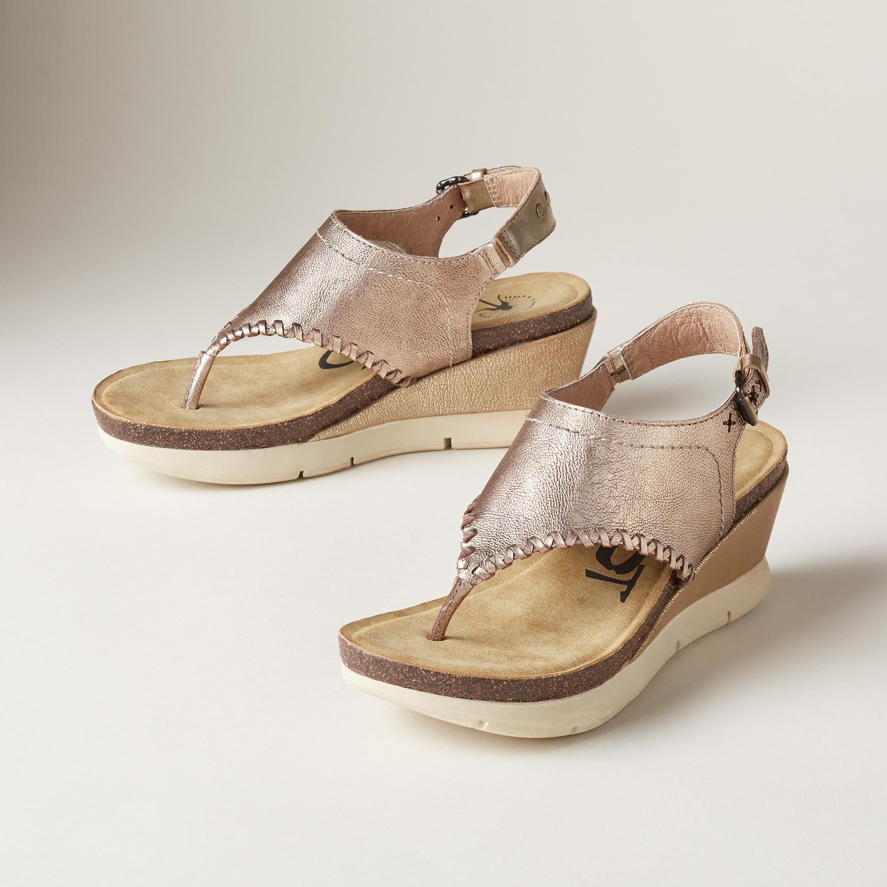 Celestia Sandals Picked From Sundance A Subtle Metallic Shimmer Elevates These Comfortable Lightwei In 2020 Leather Wedge Sandals Lightweight Sandals Womens Sandals