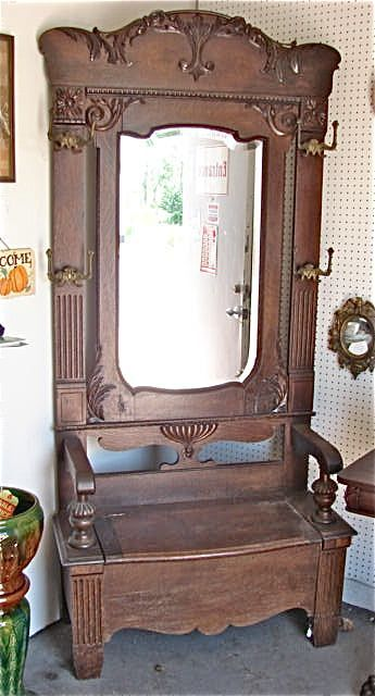 antique hall tree with mirror oddities curiosities crafts and rh pinterest com