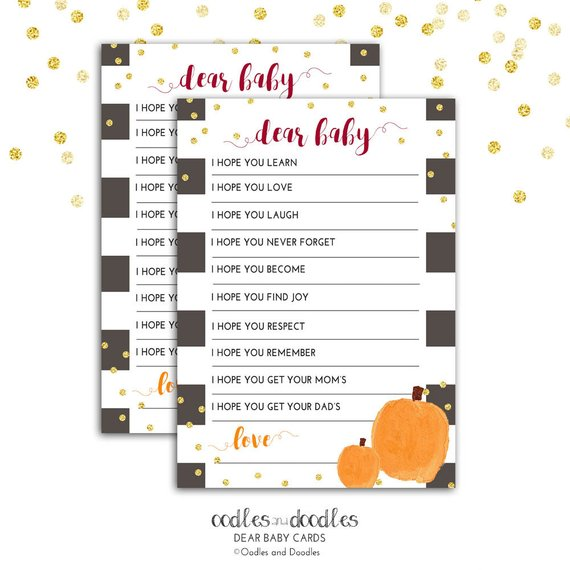 Baby Shower Games, Printable Dear Baby Card, Baby Wishes, Fall Baby