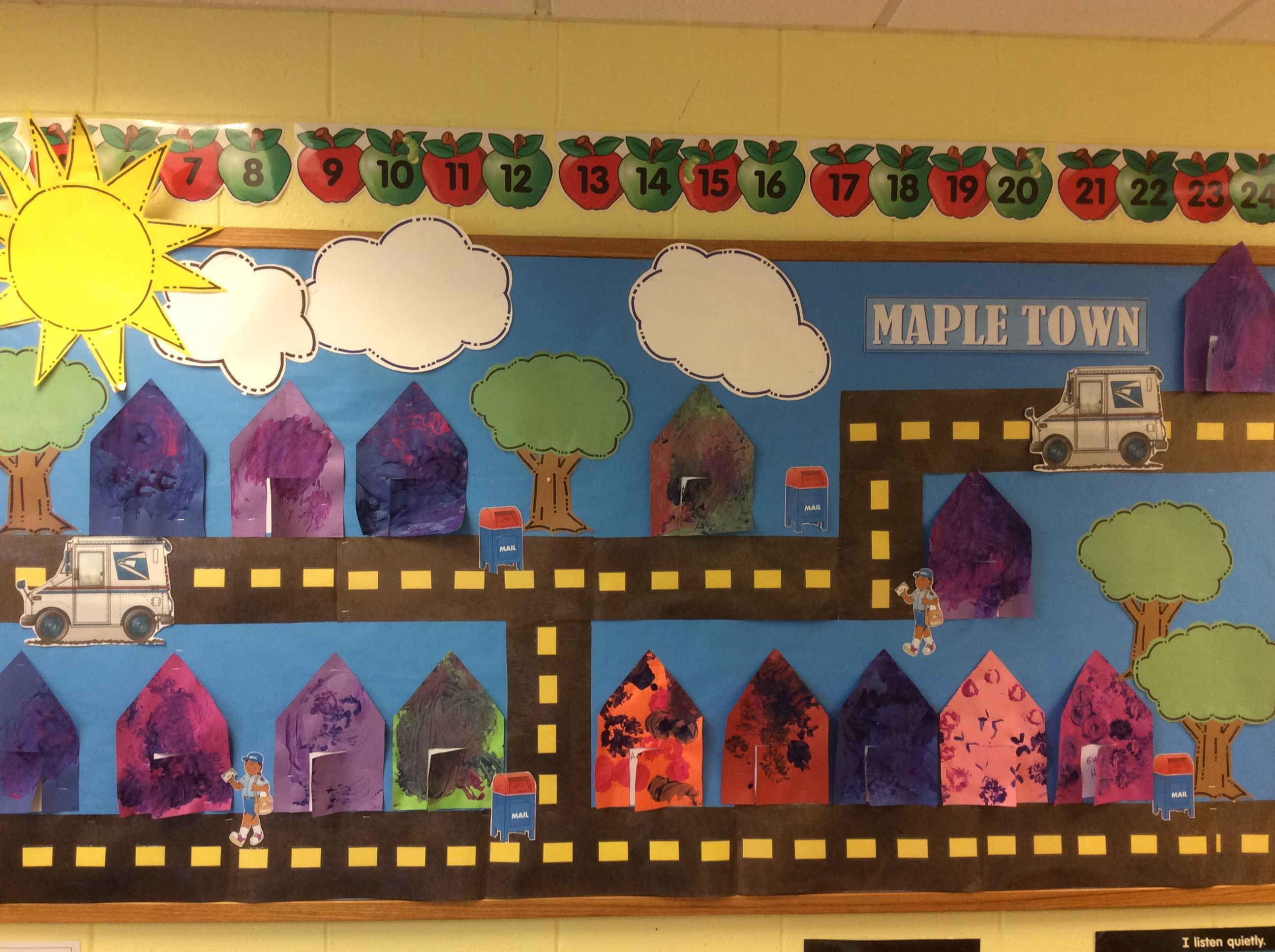 community bulletin board the children created the buildings