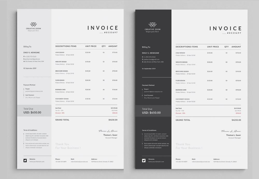Invoice Template Business Invoice Receipt Printable Etsy Invoice Template Invoice Design Printable Invoice
