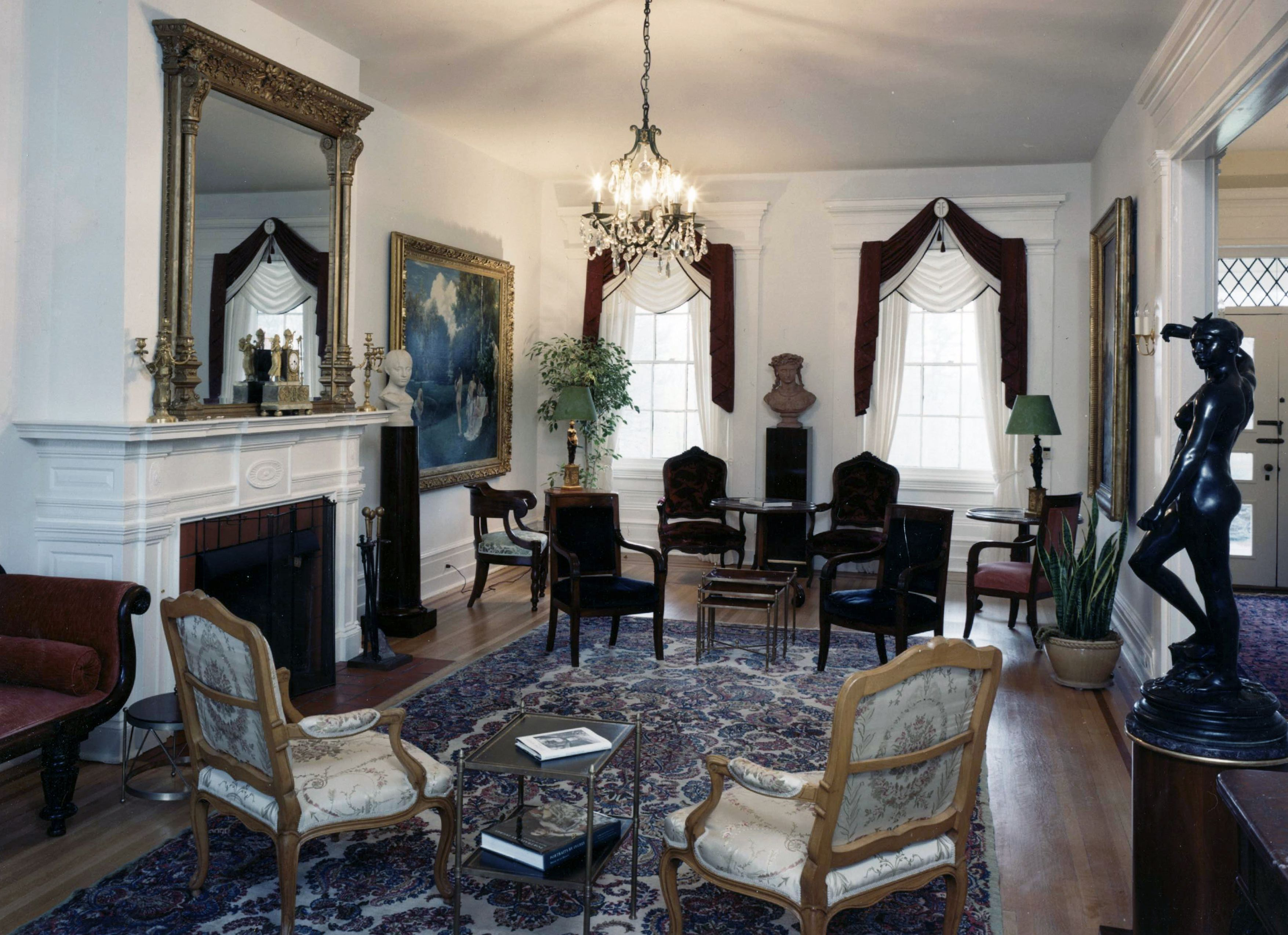 French formal living room - Exquisite Formal Living Room In Historic Bucks County Estate Featuring Important Art Work A Large