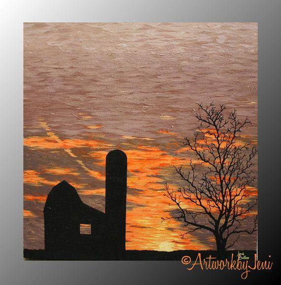 Barn Sunrise Barn Painting Sunset Painting Sunset Painting Acrylic
