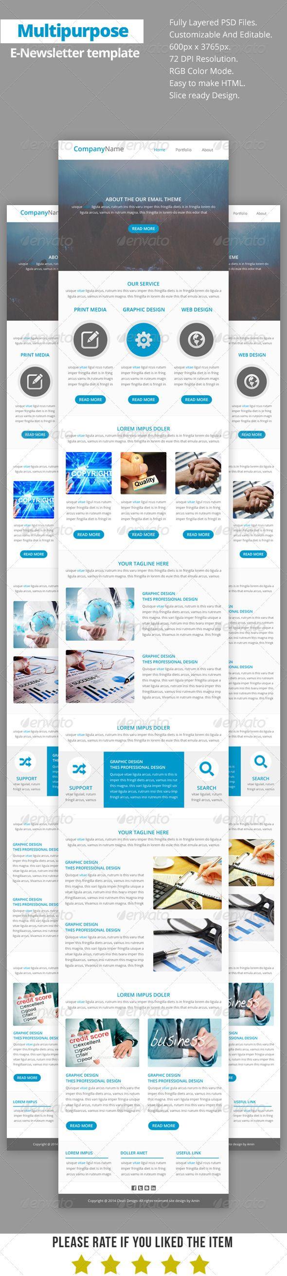 Multipurpose ENewsletter Template V Newsletter Templates - Good newsletter templates