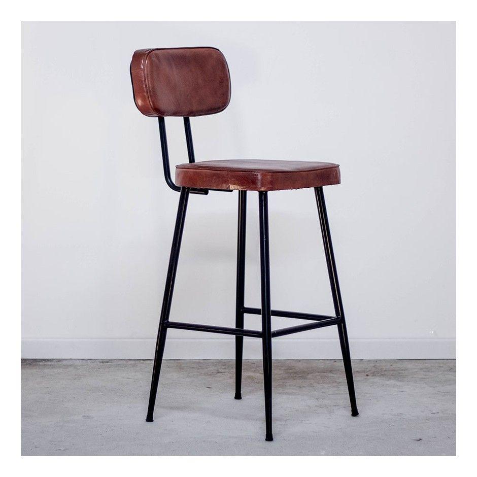 Chaise Haute De Bar Esprit Industriel Cuir Metal Noir Pour Cuisine En 2020 Chaise Haute Bar Chaise Style Industriel Chaise Haute