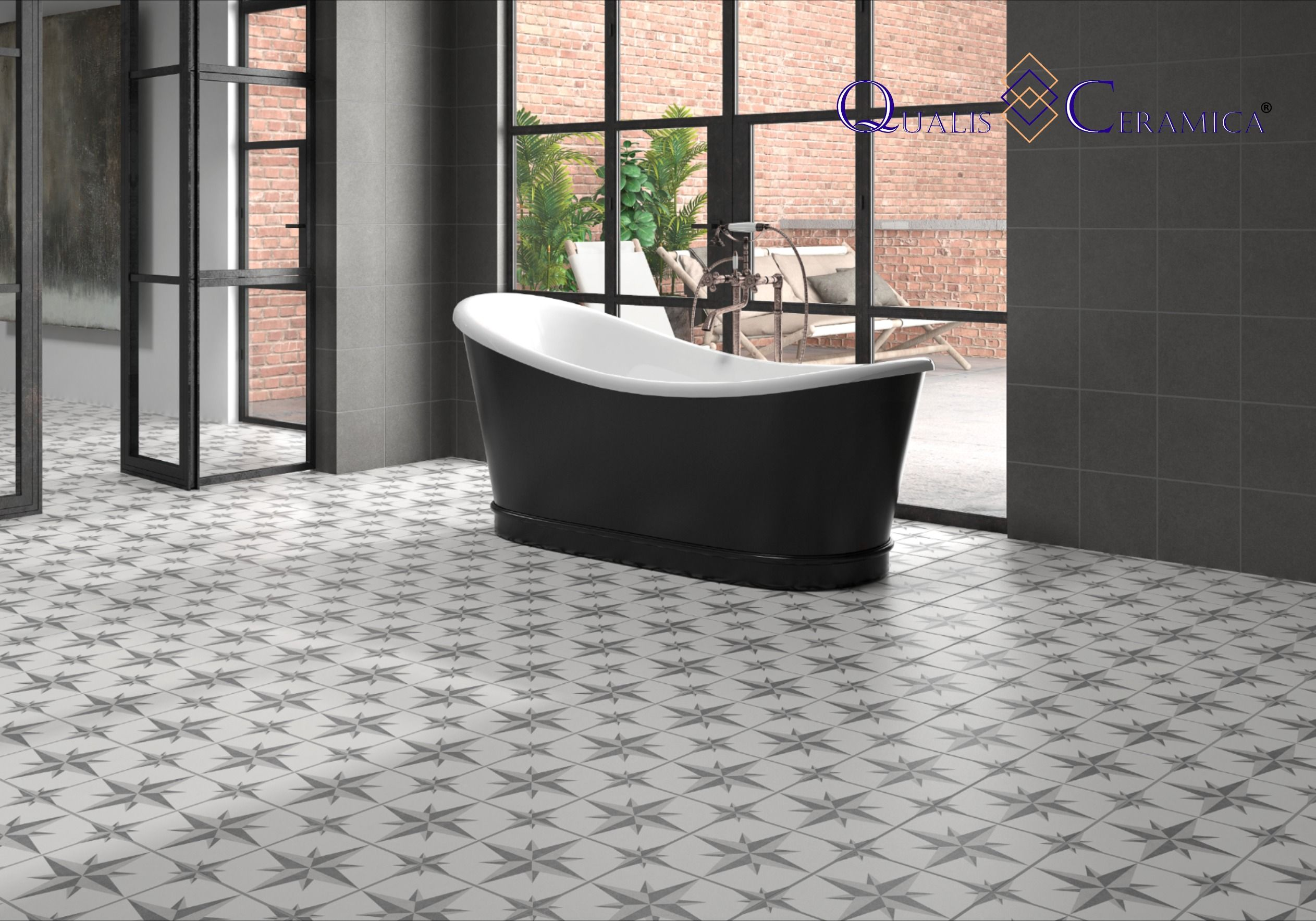 Master Bath Floor Tile Qualis Ceramica Gibraltar Europa Gris 10x10 Cement Look Porcelain Tile In 2020 Tile Floor Slip Resistant Tiles Tile Design