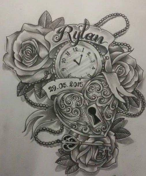 Baby Name Birth Date Time Tattoo Locket Tattoos Tattoos For Kids Tattoos For Daughters