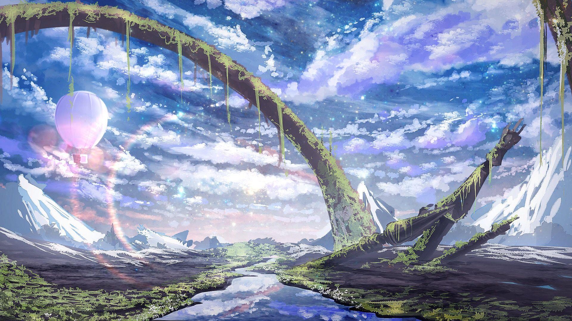 Anime Manga Landscape Sky View Fond Ecran Paysage Paysage