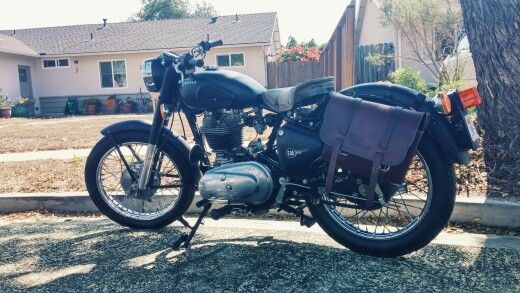 Sir Oliver the Royal Iron Horse  Matte Black with Custom Tan leather seat and saddlebags  Royal Enfield 500 Bullet Bobber