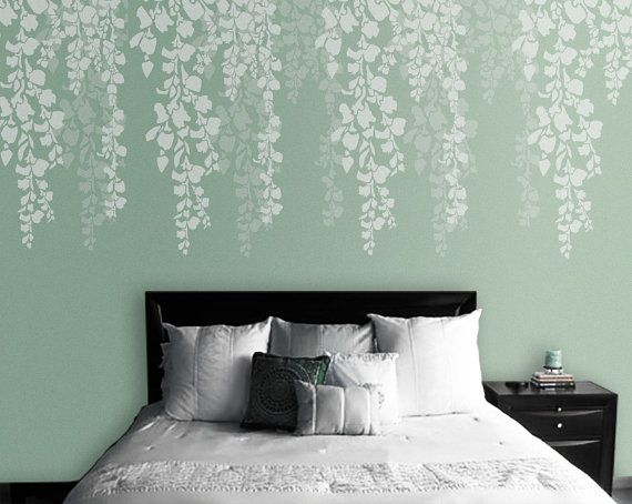 living room wall stencils uk turquoise accessories tree stencil bedroom cherry blossom for