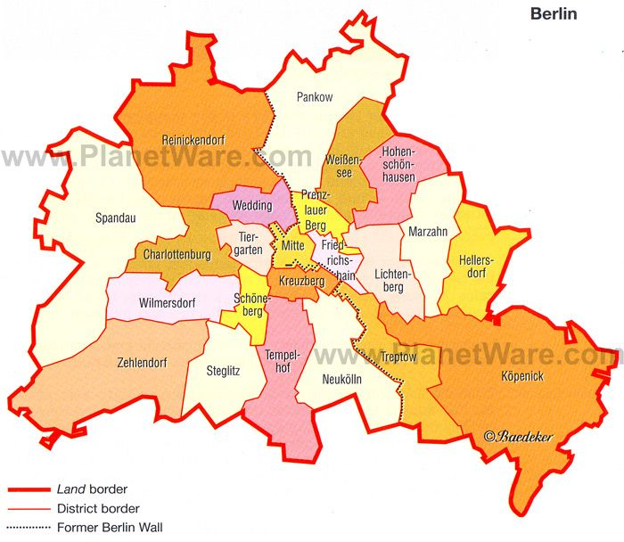 Berlin - The City and its Districts Map - Tourist ...