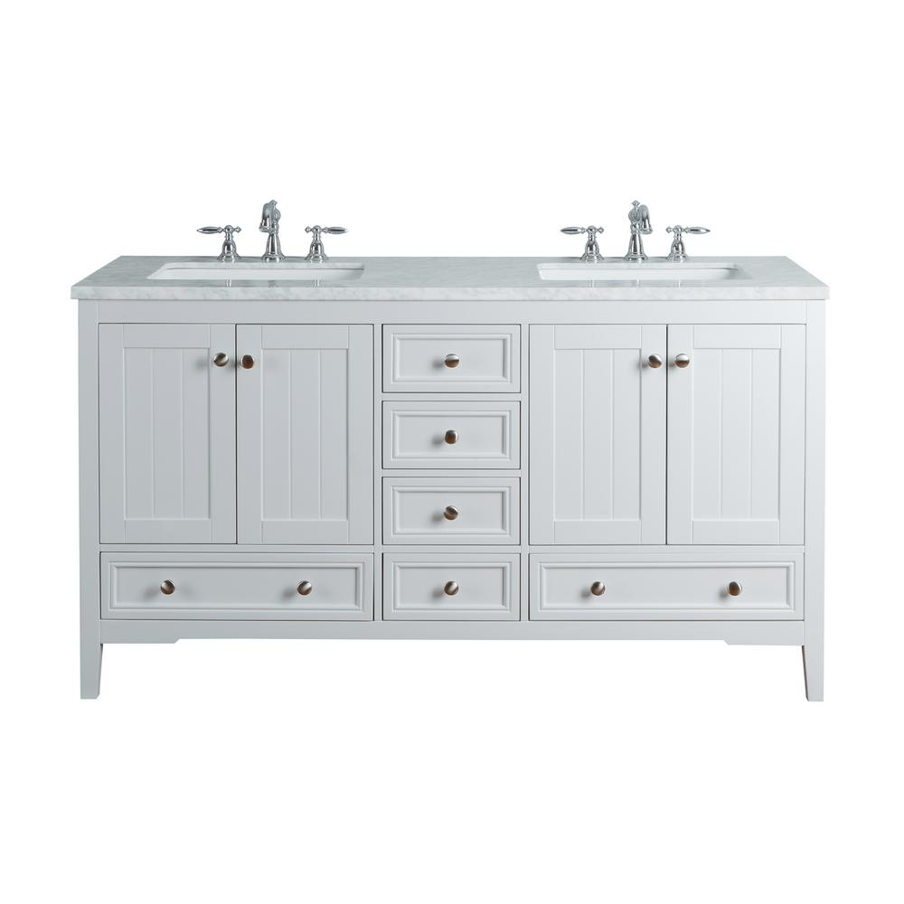 Stufurhome New Yorker 60 In White Double Sink Bathroom Vanity