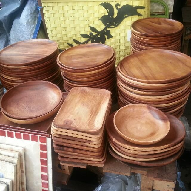 Wooden Charger Plate Or Dessert Plates And Bowls Bowls