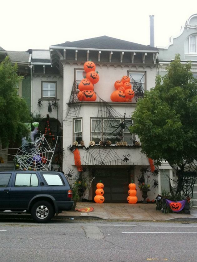 An American House Decorated For Halloween Outdoor