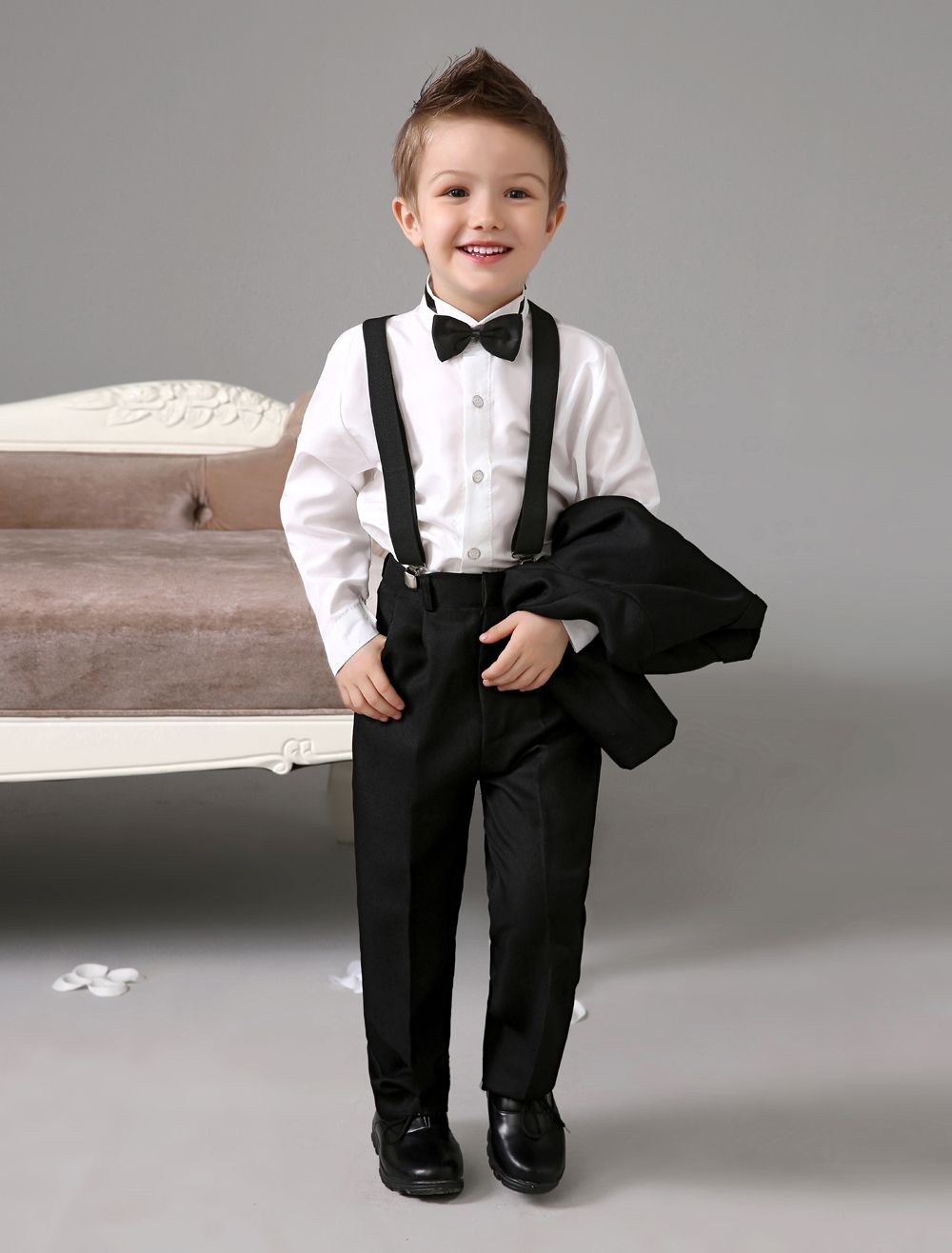 Four Pieces Luxurious Formal Black Boys Suits Ring Bearer Kids Tuxedo With Bow Tie Outfit China Mainland
