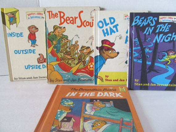 Berenstain Bear Books Set Of 5 Books Old Hat New Hat Inside Outside Upside Down Bears In The Night Stan And Jan Be Berenstain Bears Book Set Bear Scouts