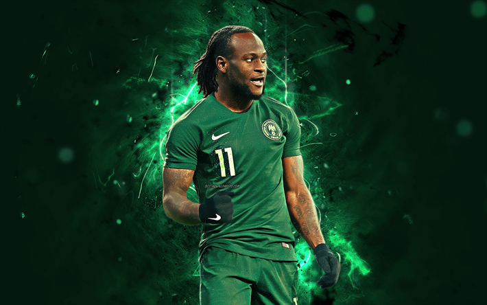 Download Wallpapers Victor Moses Abstract Art Nigeria National Team Fan Art Moses Soccer Footballers Neon Lights Nigerian Football Team Besthqwallpapers Victor Moses Football Team Sports Wallpapers