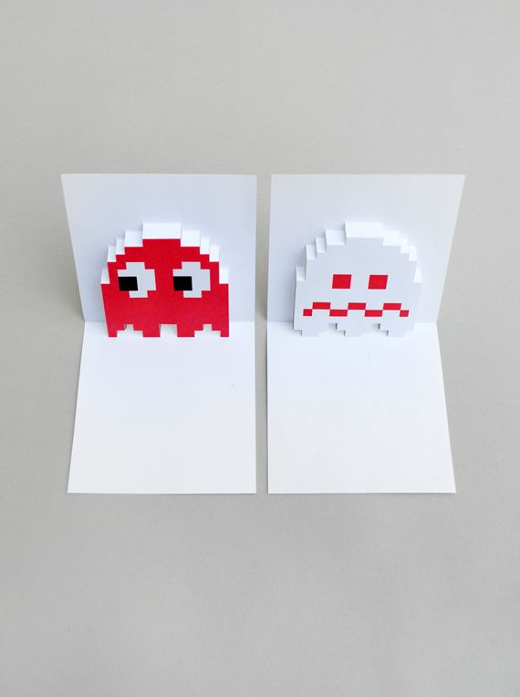 pacman ghost popup card free template halloween stuff