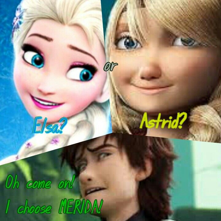 Oh!He choose Merida^.^ I feel like though if I watched the HTTYD movies before discovering Merricup, then I'd probably be a Hiccstrid fan