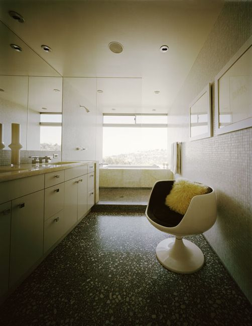 Love the floor, chair, tiles, open plan. mid century modern bathroom.. awesome