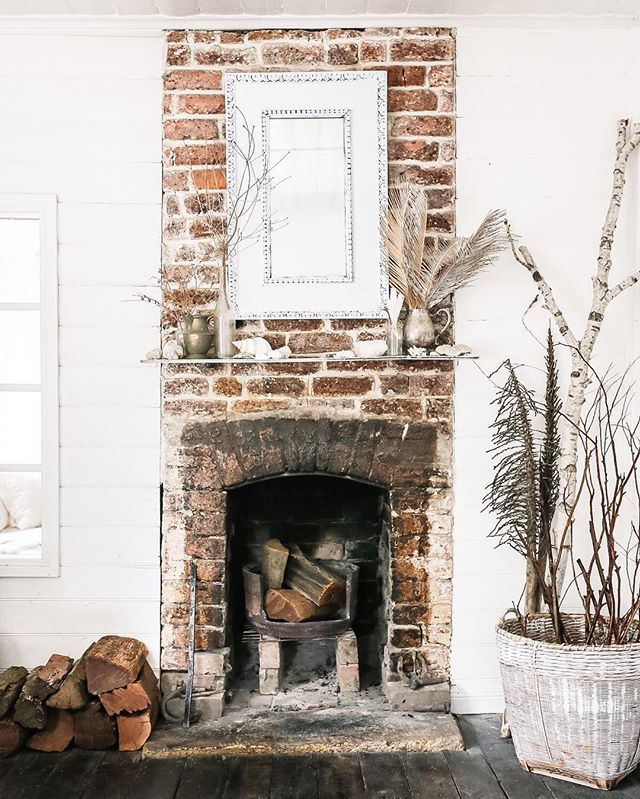 Very Tiny Rustic Fireplace In The Cottage Cottage Fireplace Rustic Fireplaces Brick Fireplace