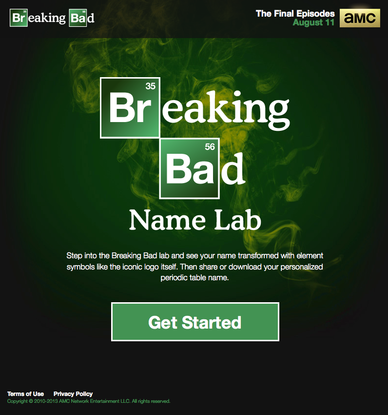 Amc Breaking Bad Name Lab Amc Launched A Landing Page That Allows The Creation Of A Personalized Logo Based On The Iconic Breaking Bad Series Logo Center