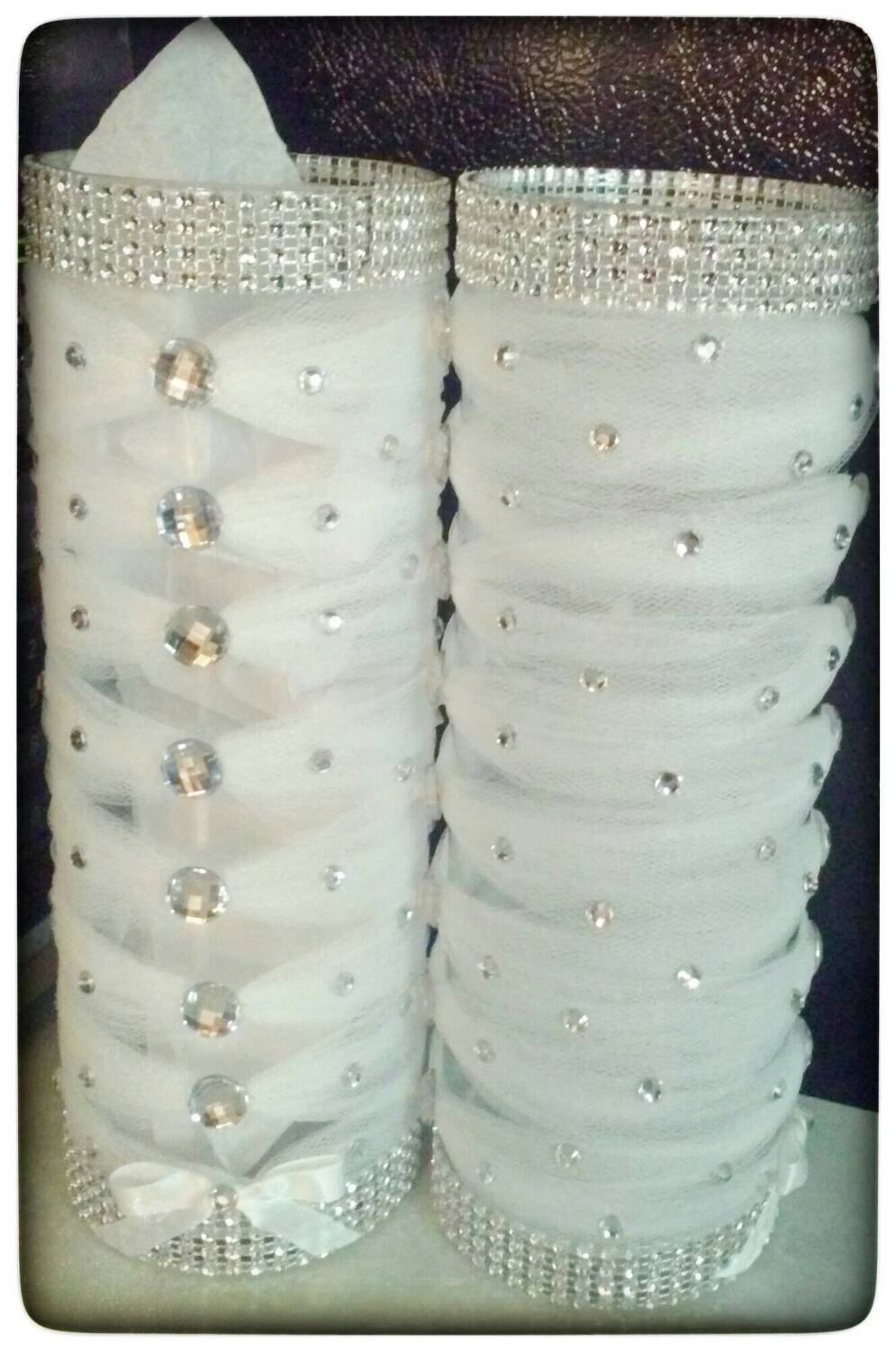 Tulle and bling elegantly wrapped centerpiece vases. Each cylinder ...