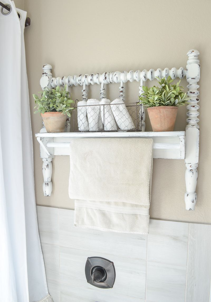 DIY Towel Bar from Vintage Bed Frame | Farmhouse style bathrooms ...
