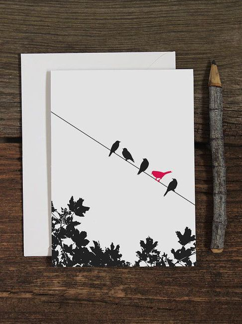 birds on a wire / blank note cards