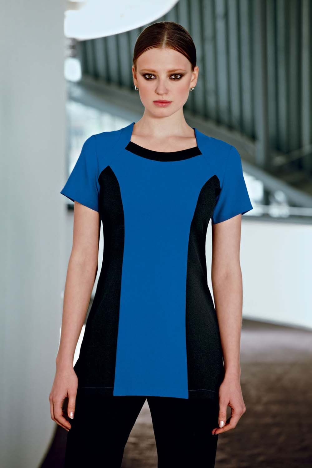 a8b308e7a22b3a Cobalt blue bolero beauty tunic with contrast black side panels ...