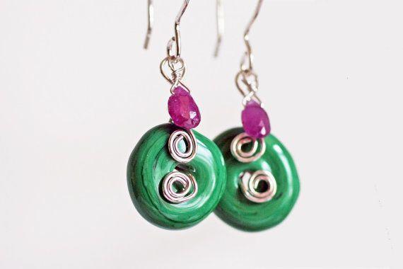 Watermelon Colors Sterling Silver Earrings, Green Lamp Work Silver ...