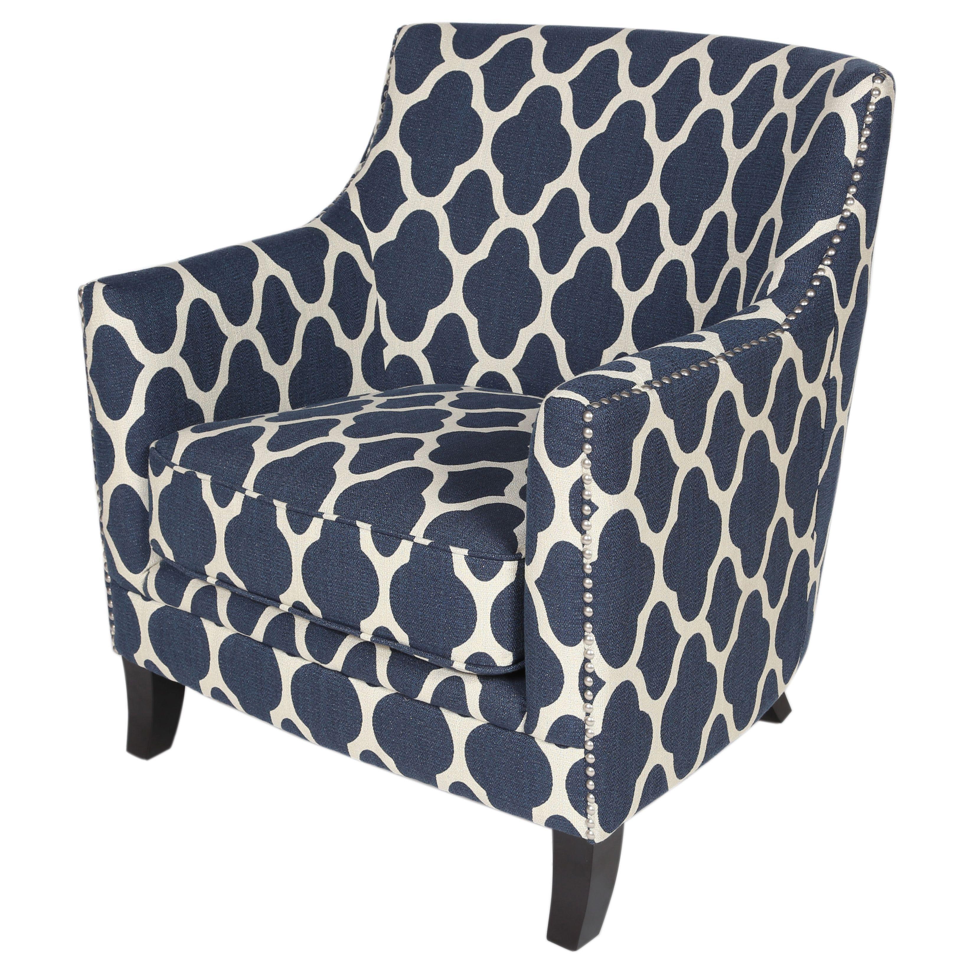 Handmade Cassie Navy Blue And White Arabesque Accent Chair 30 X