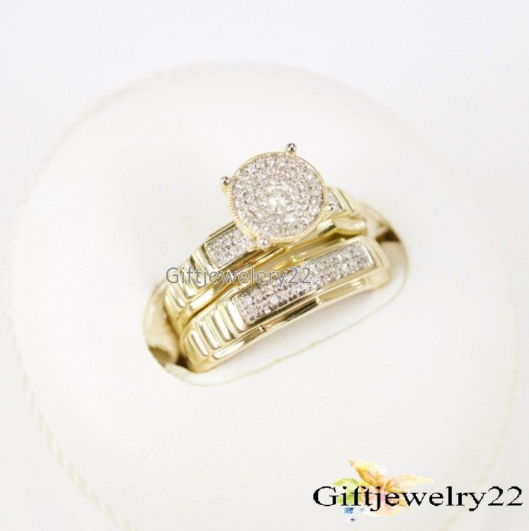 10K Yellow Gold Round Cut Diamond Bridal Set Engagement Ring Wedding