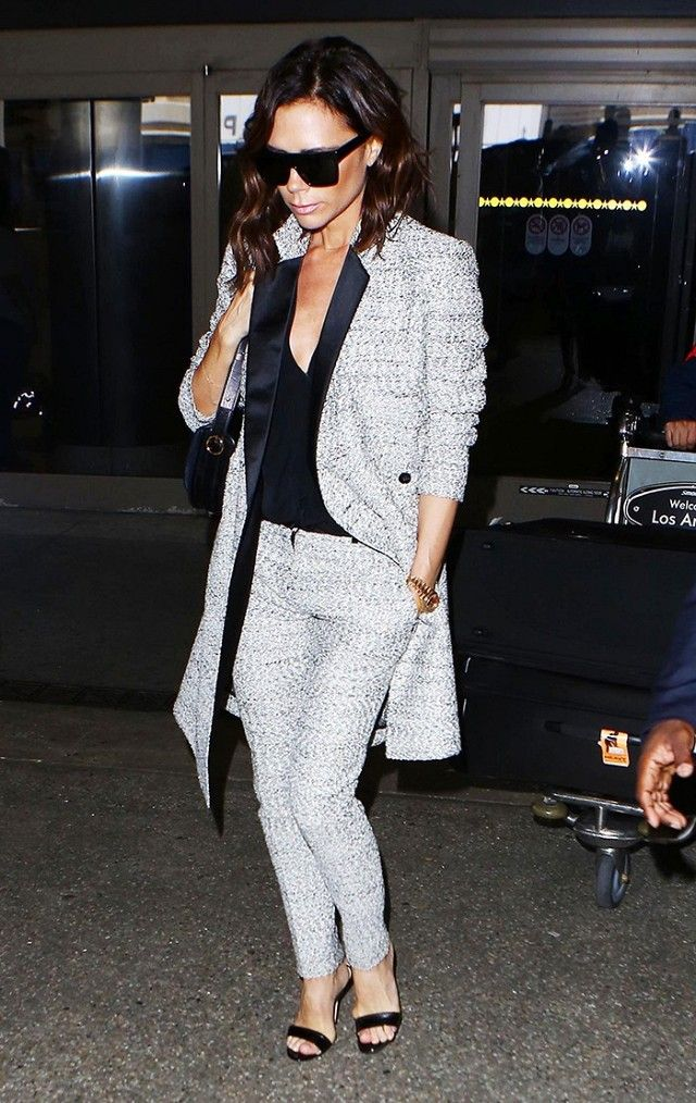 9759045bd9 Victoria Beckham looks incredibly polished and stylish while leaving the  airport in a matching jacket and trousers