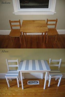 Before And After Mini Table Chairs Get Striped Flipping