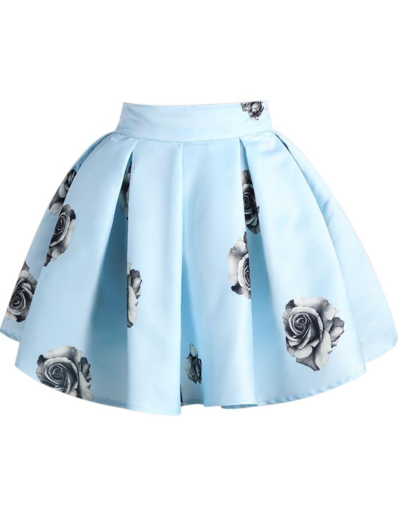 Falda plisada rana-azul y rosado 14.16 #flaredskirt