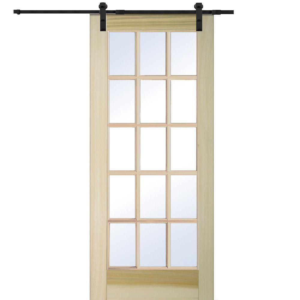 Milliken Millwork 36 In X 80 15 Lite Poplar Barn Door With