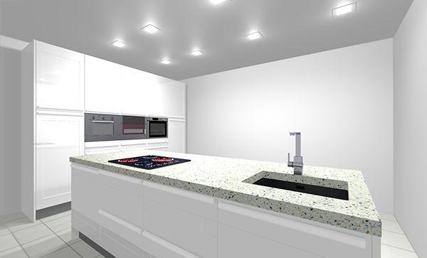 Modelo de #cocina con puerta mónaco blanco brillo de cocinas.com ...