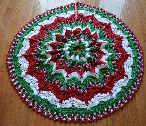 Gorgeous Crochet Christmas Tree Skirt by OffTheHookbyJulie on Etsy