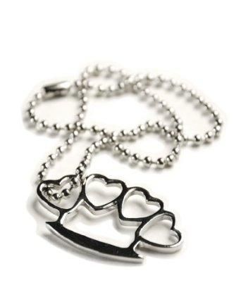 heart knuckle duster necklace