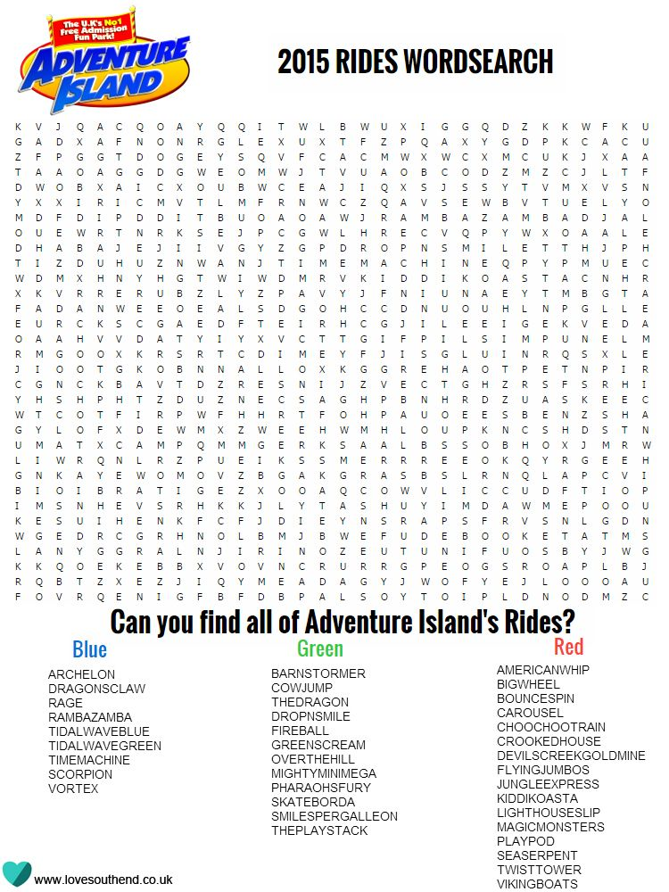 Adventure Island Wordsearch Love Southend Islands Of Adventure Adventure Island