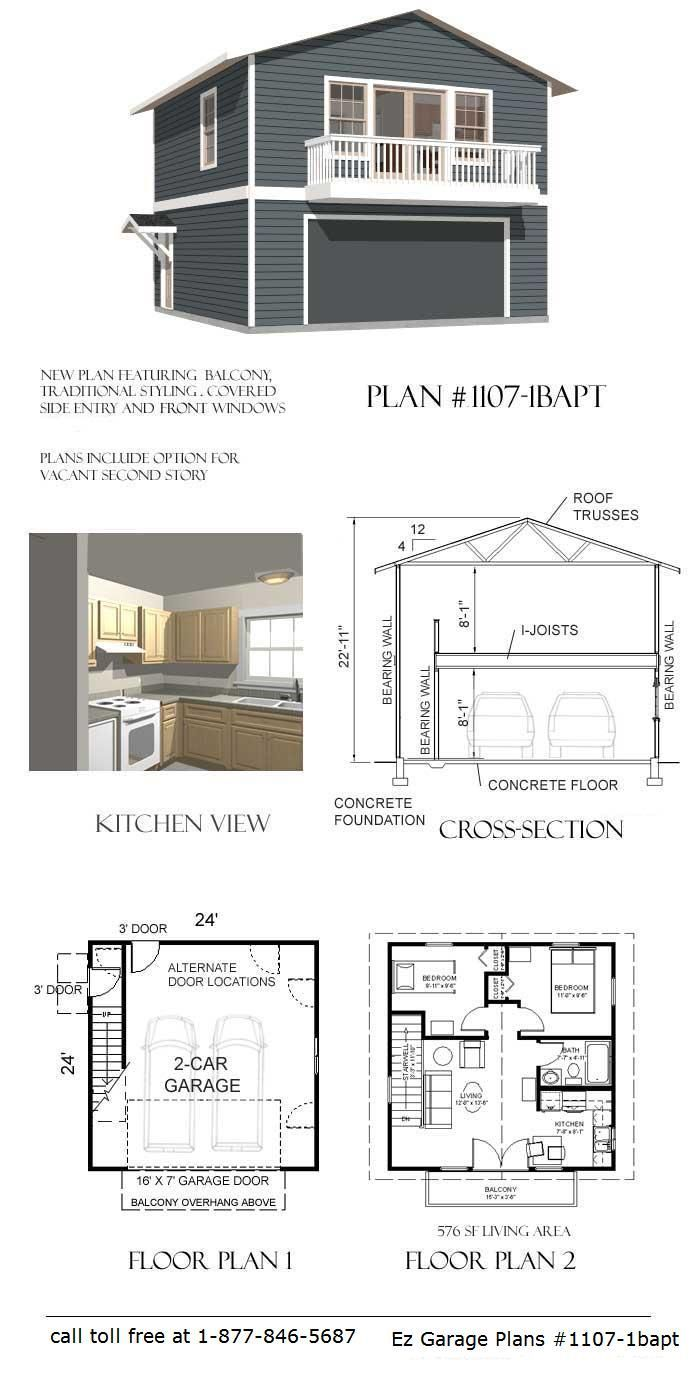 Exceptional 2 Story Garage Apartment Plans #6: One Car Garage With Apartment | ... Garage Plans Available Buy A Garage Plan