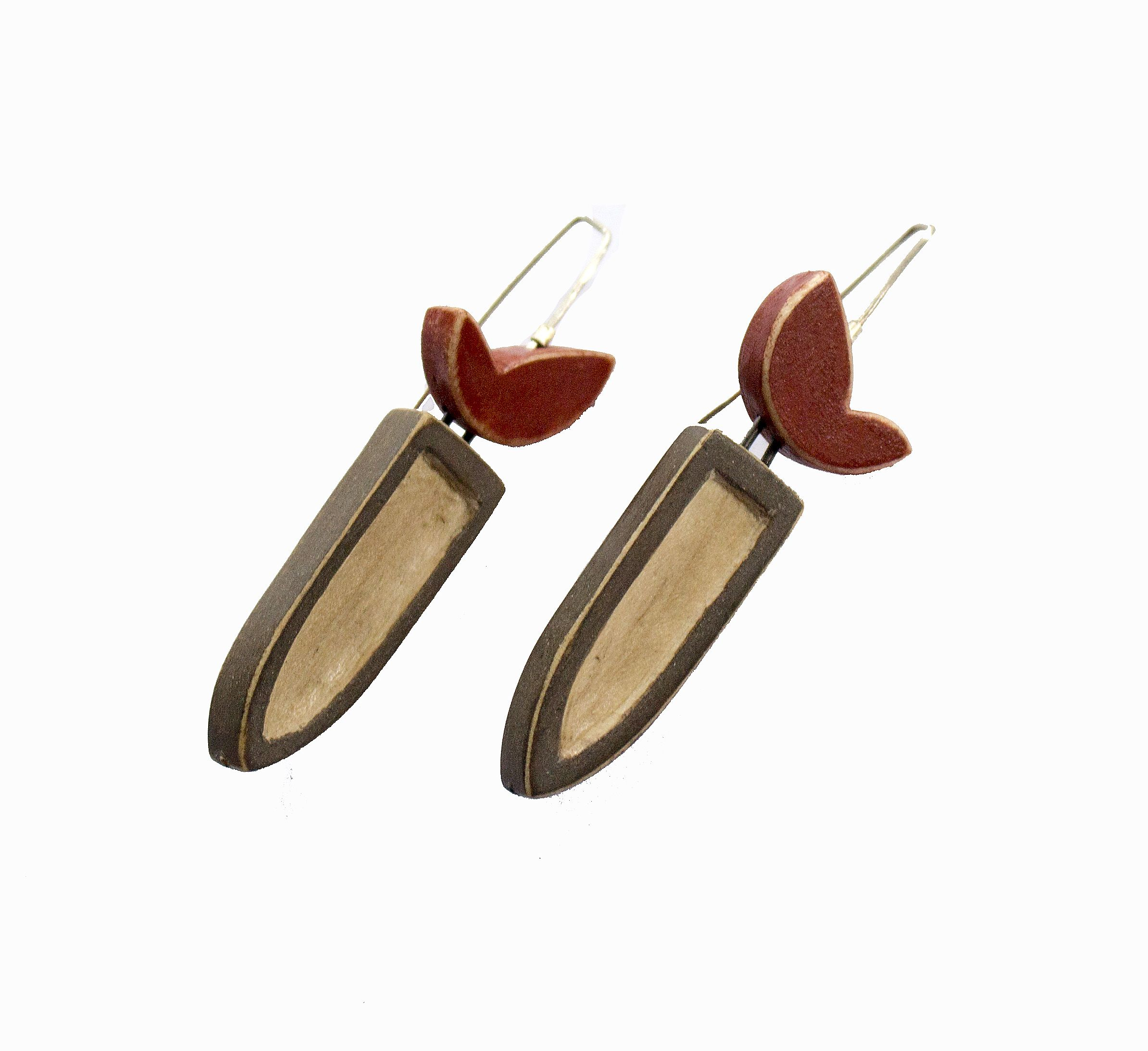 Audrey Peck, Bloom earrings, wood and sterling