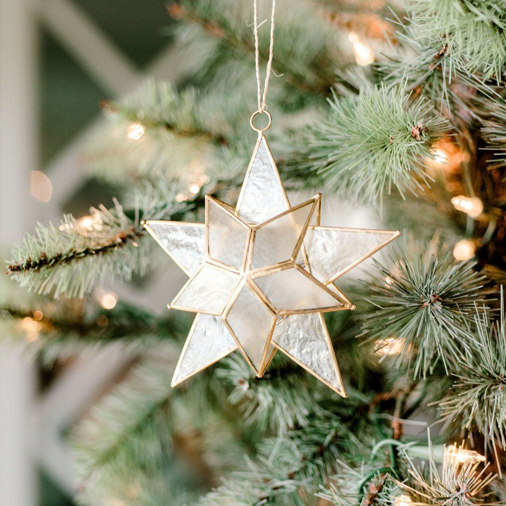 Metal And Glass Gold Star Christmas Ornament Christmas Tree Star Gold Christmas Ornaments Christmas Tree Decorations